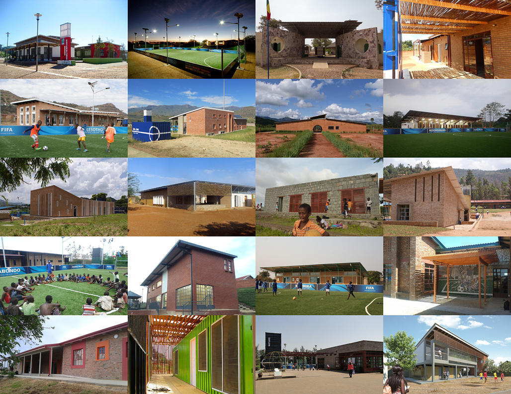 Mosaic of the 20 Football for Hope centers across Africa