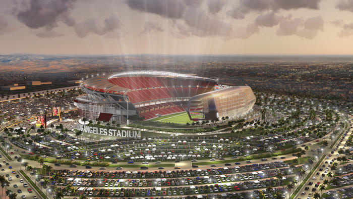 Rendering of the latest approved stadium proposal for the LA suburb of Carson. (Rendering: Manica Architecture; Image via latimes.com)