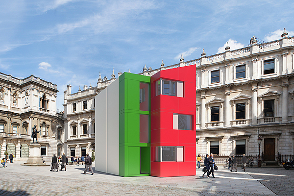 The flatpack Homeshell of Pritzker laureate Richard Rogers was built in a day at the Royal Academy's courtyard. Photo courtesy of 7-T-Ltd via artinfo.com.