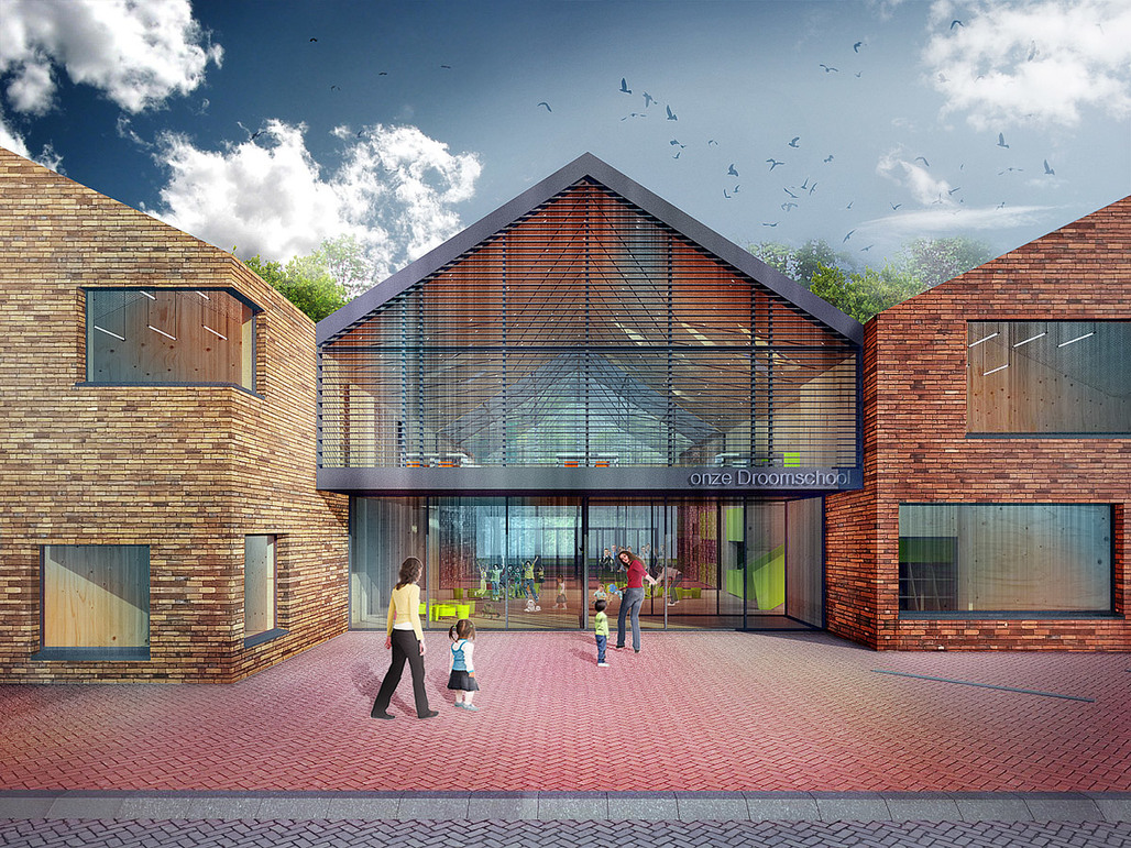 Main entrance of the proposed Onze Droomschool in Dordrecht, the Netherlands, designed by Mecanoo architecten (Image: Mecanoo architecten)