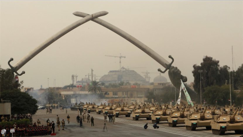 Surprising or not, the hands of Baghdad's iconic Victory Arch had been modeled on Saddam's own. (Image via failedarchitecture.com)