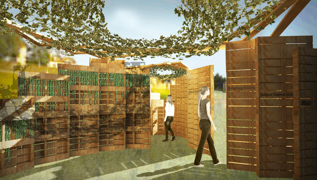 A team of NSAD students won first place for their design of a sukkah for the Leichtag Foundation's Sukkah Design Expo 2013. Rendering: NSAD student team
