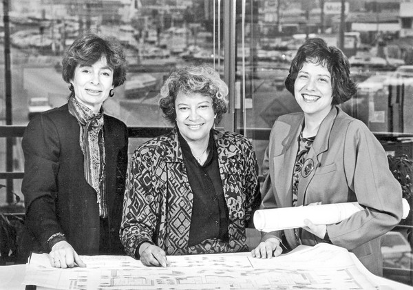 Norma Merrick Sklarek, center, Margot Siegel, left, and Katherine Diamond founded Siegel-Sklarek-Diamond, one of the largest all-women architectural firms in the country, in 1985. (Los Angeles Times)