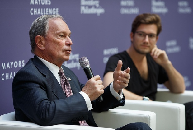 "Former New York City Mayor Mike Bloomberg participates in an ""innovation and inspiration"" discussion with Berlin-based SoundCloud CEO & Co-founder Alexander Ljung at Bloomberg's Ideas Camp, held in Berlin. (Bloomberg Philanthropies)"