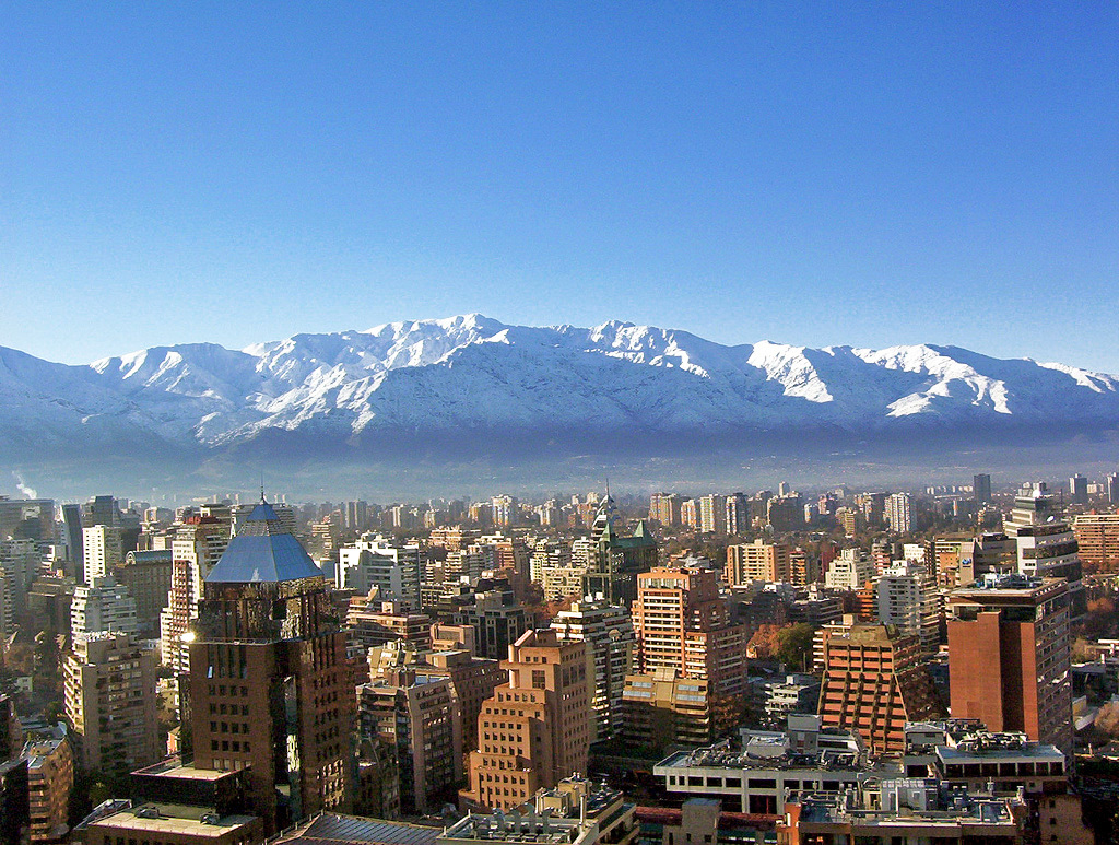 "Sitting right on the seismically active ""Ring of Fire,"" Chile's strict building codes appear to have taken the edge off recent massive earthquakes. (Photo of Santiago de Chile via Wikipedia)"