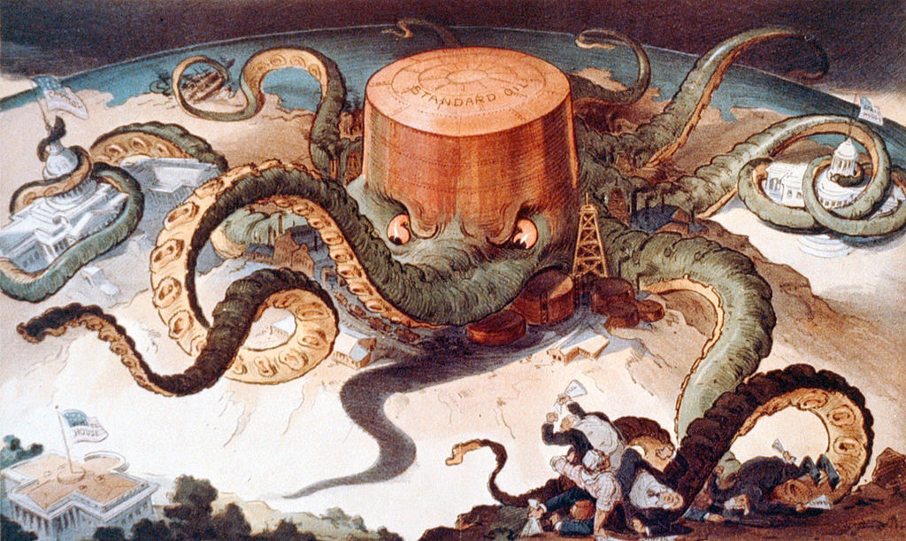 """Next!"" 1904 political cartoon skewing Standard Oil's monopolistic tactics. Created by Udo J. Keppler. Image via wikipedia.org."