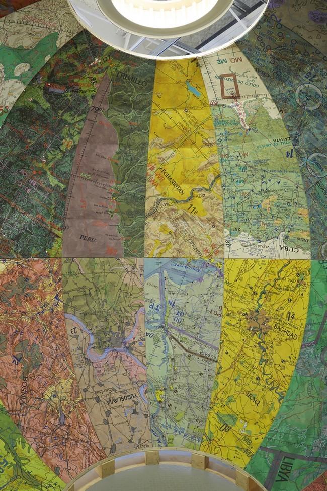 "Part of the ""Mapping Brooklyn"" exhibition: Inside Joyce Kozloff's Targets. (Photo: Jason Wyche/BRIC; Image via urbanomnibus.net)"