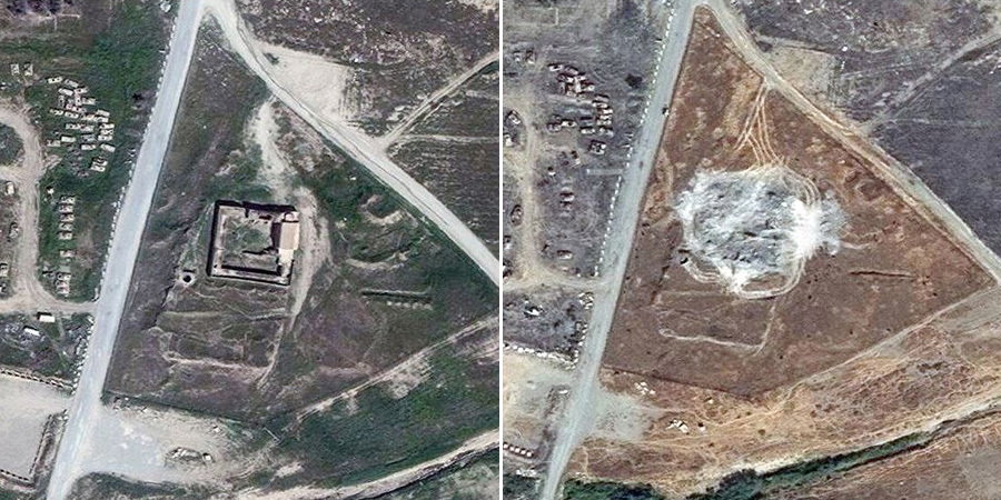 Satellite images from March 2011, left, and September 2014, show the complete destruction of the 1,400-year-old Christian monastery Dair Mar Elia (also know as Saint Elijah's Monastery) near Mosul, Iraq. (Photo: DigitalGlobe/AP)