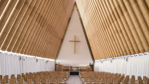 Shigeru Ban's Cardboard Cathedral in Christchurch, New Zealand. (Sydney Morning Herald; Photo: Stephen Goodenough)
