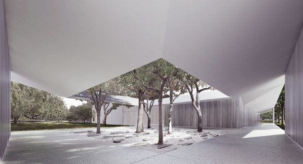 The west courtyard of the Menil Drawing Institute. (LA Times; Johnston Marklee / The Menil Collection)