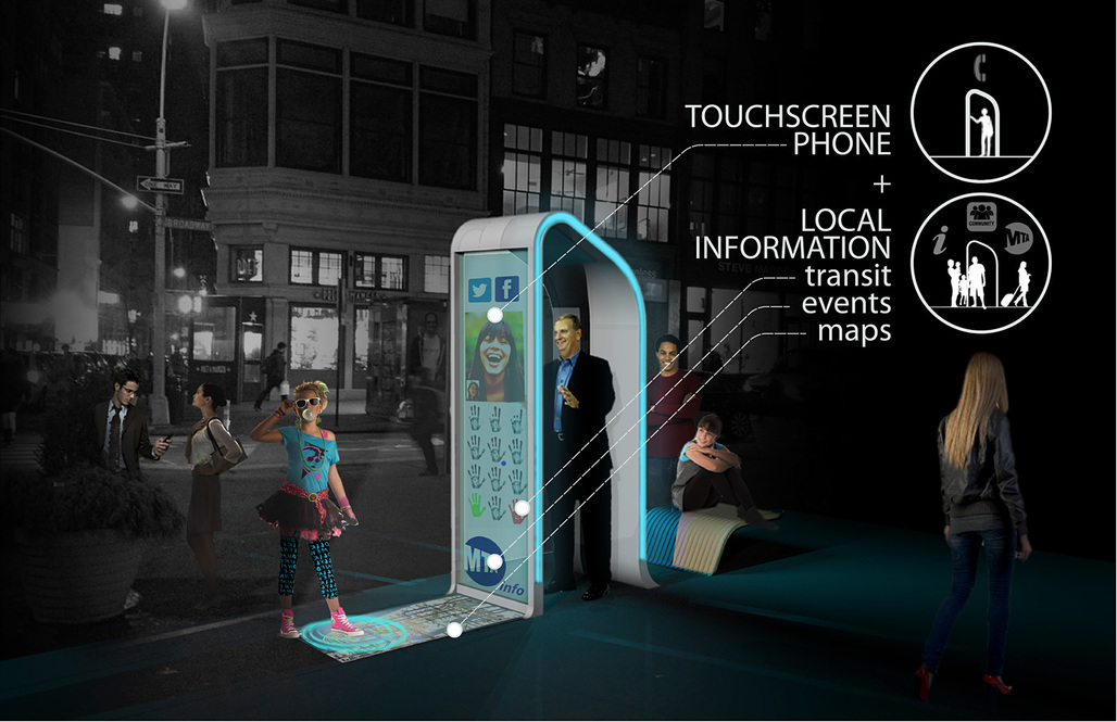 """Winner of the Creativity Award at the Reinvent Payphones Design Challenge: FXFOWLE's concept """"NYC Loop"""" (Image: FXFOWLE)"""