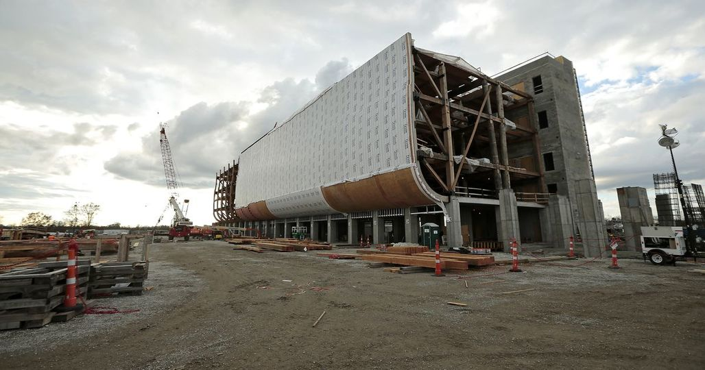 Construction continues on a scale model of Noah's Ark at the Ark Encounter attraction in Williamstown, Kentucky. The Enquirer/Sam Greene. Image via cincinnati.com.