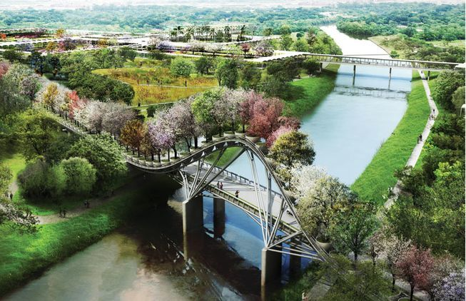 Don't call it Houston's version of the Garden Bridge yet: some elements of the West 8 Houston Botanic Garden master plan, like this tree-topped bridge, may still be altered or dropped entirely to ease hurricane safety concerns. (Rendering: West 8)