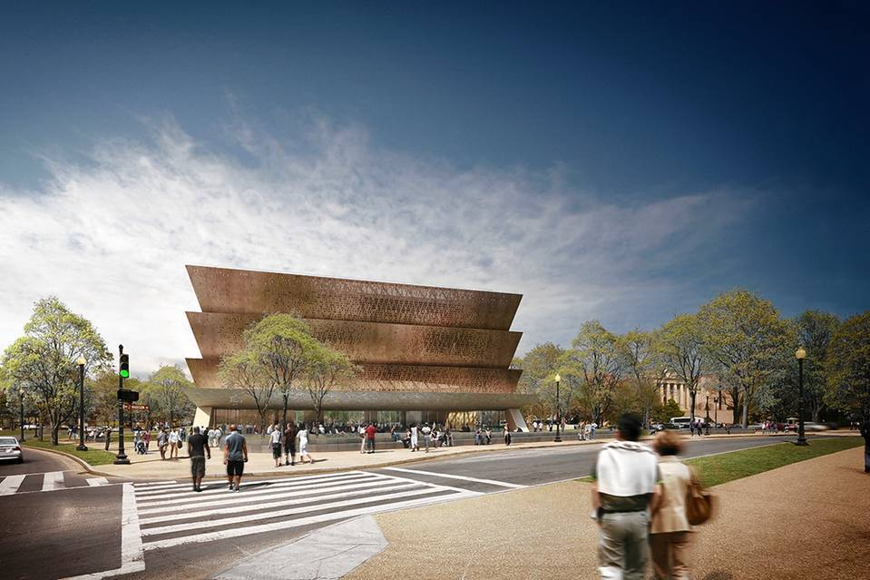 The Smithsonian National Museum of African American History and Culture. Photo courtesy of Adjaye Associates. Image via wsj.com