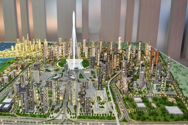 Model of the massive Dubai Creek Harbour development with The Tower as its centerpiece. (Image: WAM)