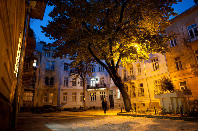 Akademika Bohomoltsia Street a 10-minute walk from Rynok Square (Joseph Sywenkyj for The New York Times)