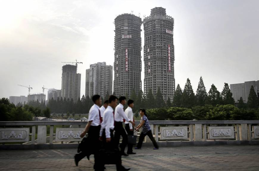 Buildings under construction on Ryomyong Street in Pyongyang. Photo via The Japan Times.