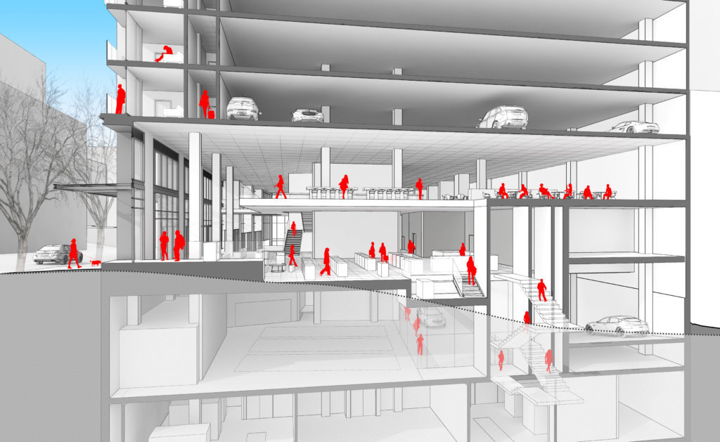 Designing parking garages, that can convert into housing as mobility habits and ownership models evolve over time, demands new approaches like LMN Architects' proposed Seattle tower at 4thand Columbia. (Image: LMN Architects; via wired.com)