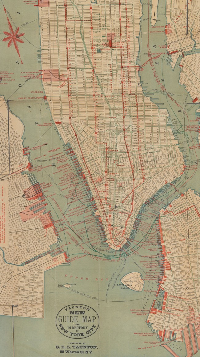 A map of the elevated (red) and horsecar (blue) lines in Manhattan, 1882 (Urban Omnibus; Image via NYPL)