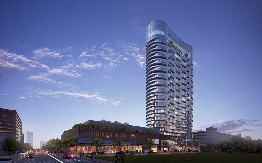 Rendering of RTKL's winning design for a 28-story skyscraper in Indianapolis (Image courtesy of RTKL)