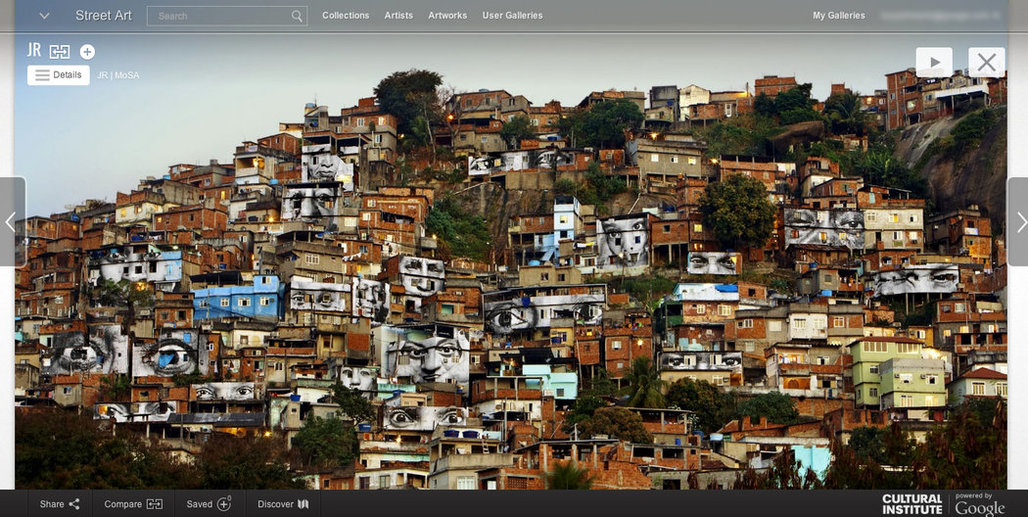 Photographs of eyes affixed to dwellings in Rio de Janeiro are part of Google's Street Art Project database. Credit MoSA.