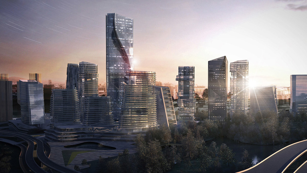 Bird's eye view of the proposed Galaxy Yabao Hi-Tech Enterprises Headquarter Park in Shenzhen, China by 10 Design (Image: 10 Design)