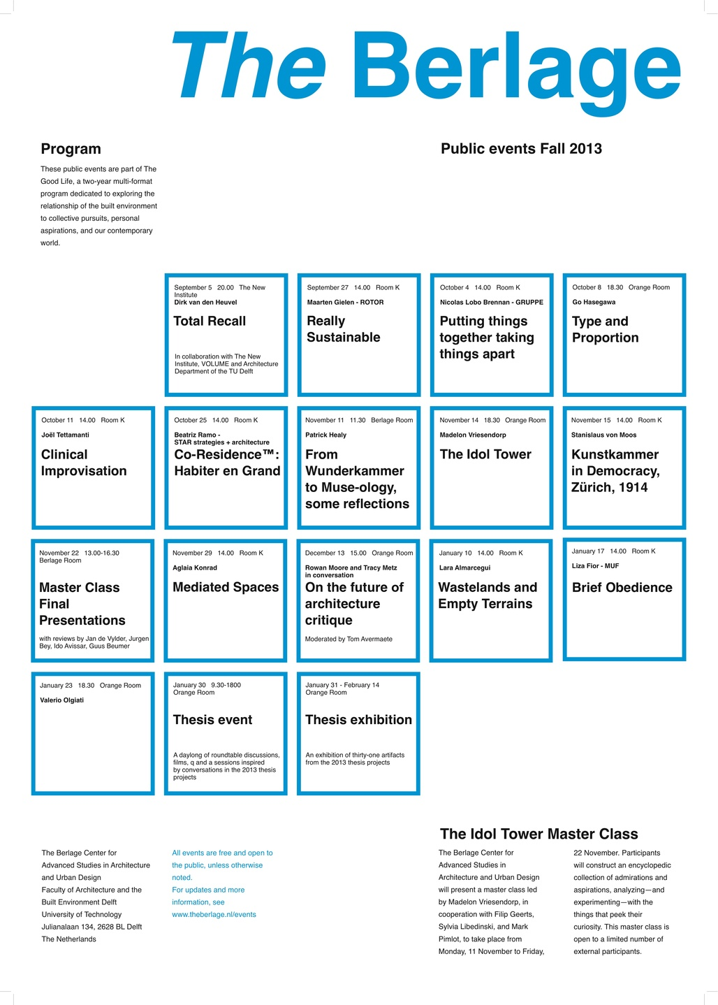 Public events poster for The Berlage Center, TU Delft. Image courtesy of The Berlage Center.