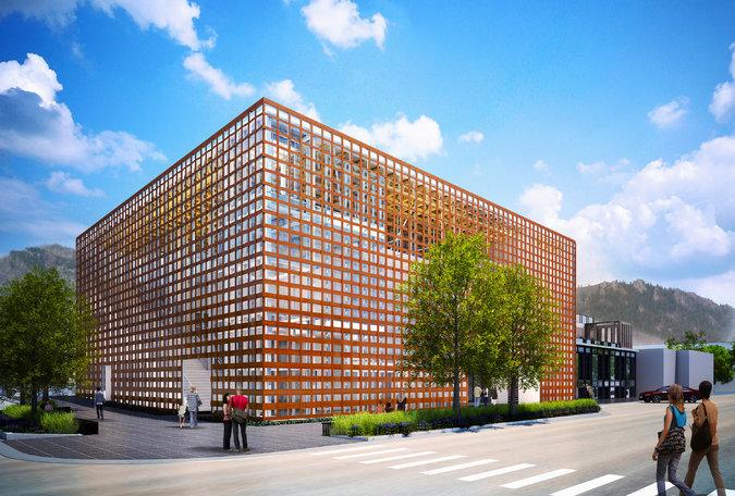 The Aspen Art Museum's new building, designed by Shigeru Ban. (NYT; Image: Shigeru Ban Architects/Aspen Art Museum)