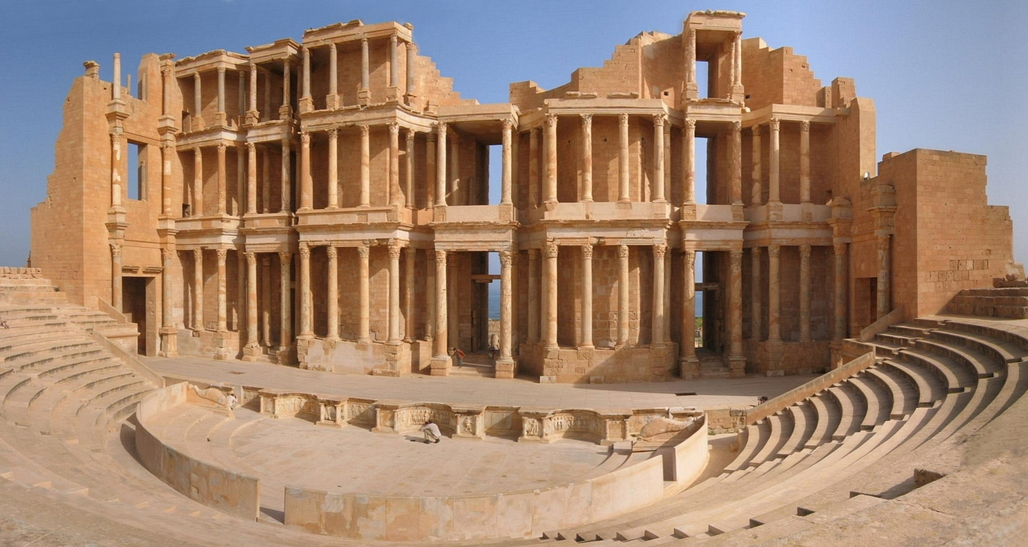 Ancient archaeological sites, like this 3rd-century Roman theater, have now come under threat in Sabratha, Libya, where ISIS supporters just managed to temporarily establish control. (Image via Wikipedia)