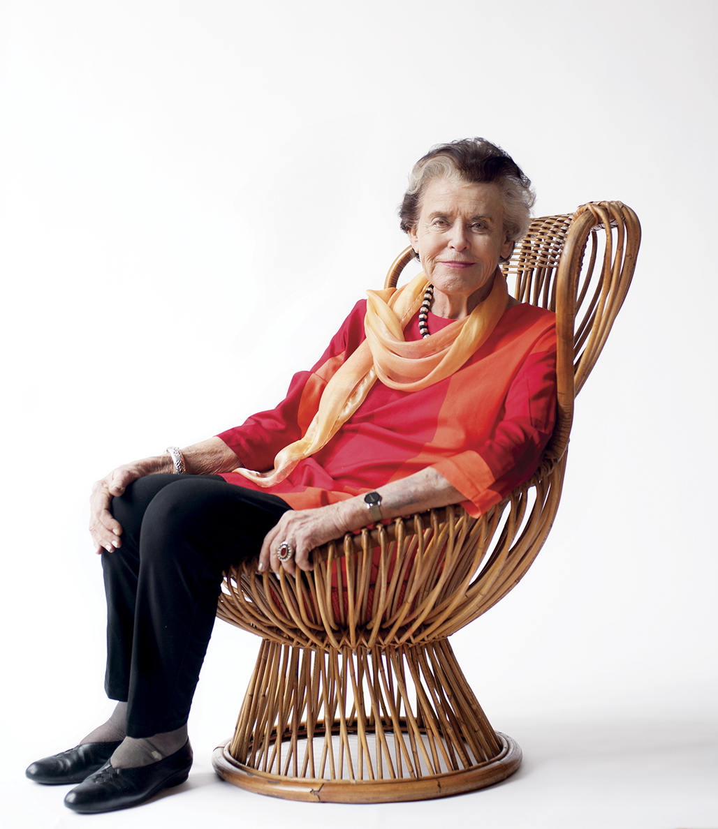 Jane Thompson sitting in a Franco Albini chair. Photograph by Jared Leeds, via Boston Magazine.