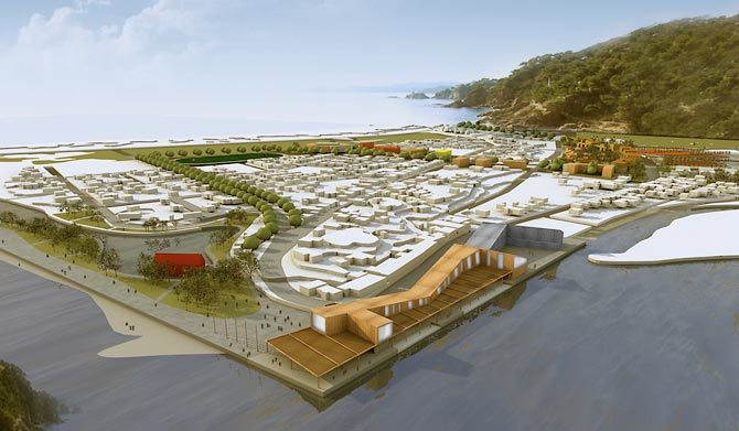 Experts are working on a masterplan to rebuild the coastal city of Mehuin, which was devastated by the post-quake tsunami that struck in 2010. Image courtesty of Biskupovic Arquitectos, Chile.