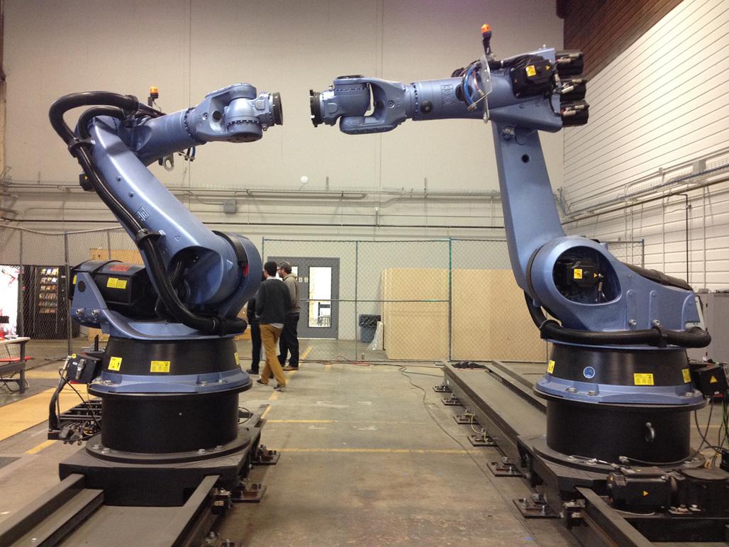 UCLA's IDEAS Kuka KR 150 robots. Image courtesy of Amelia Taylor-Hochberg.