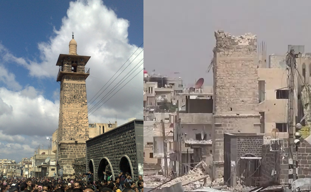 Before (2011) & After (2013) of the Omari Mosque in Deraa. Photo courtesy suic2011.wordpress.
