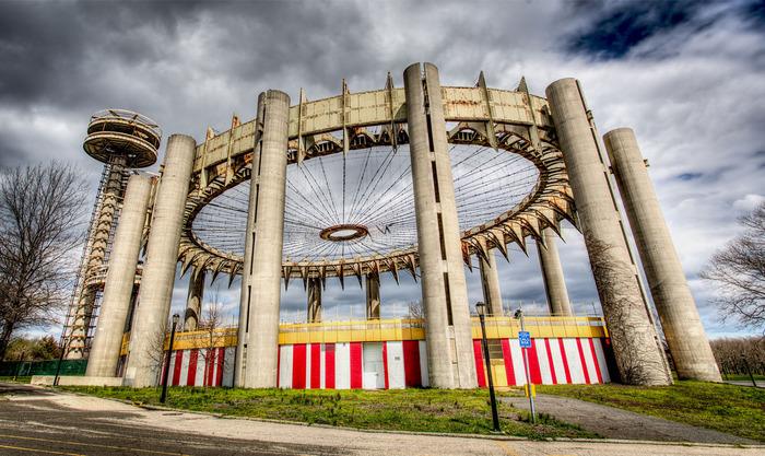 "The New York State Pavilion in the present day. Photo: Marco Catini, via ""Modern Ruin"" Kickstarter"