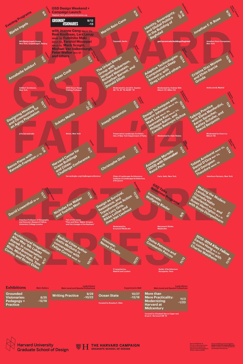Harvard Graduate School of Design Fall 2014 lecture events. Poster designed by Bruce Mau Design. Image via gsd.harvard.edu.