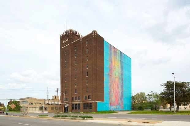 """The courts will decide if Katherine Craig's 2009 Detroit mural The Illuminated Mural (the so-called """"bleeding rainbow"""") enjoys protection under the federal Copyright Act or the building's owner can begin with redevelopment work. (Image: Auction.com)"""