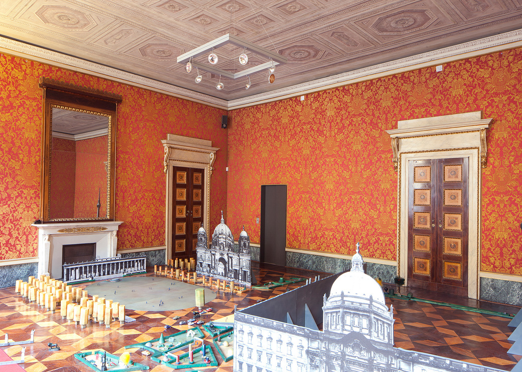 """Part of the Graham Foundation exhibition """"Spaces without drama or surface is an illusion, but so is depth:"""" baukuh with Yellow Office and Stefano Graziani, """"Model at Palazzo Reale,"""" Milan, 2012. Photo: Stefano Graziani."""