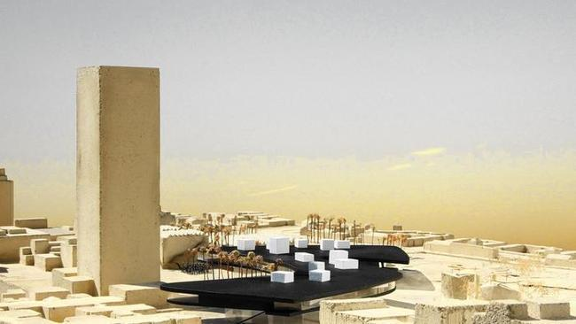Swiss architect Peter Zumthor's lastest design for a new Los Angeles County Museum of Art is less curvy and incorporates double-height galleries that will extend beyond the roofline. (Atelier Peter Zumthor & Partner). Image via latimes.com.