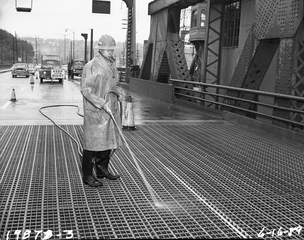 Seattle Municipal Archives Spokane Street Bridge maintenance, 1959