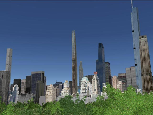 """New York skyline with """"supertall"""" skyscrapers if proposed buildings are completed. Credit: NY Yimby"""