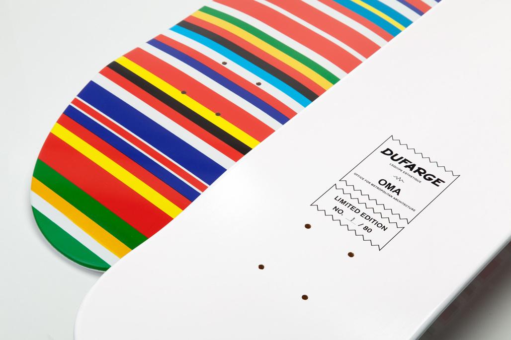 Rem Koolhaas Flag Deck: limited edition Dufarge skateboard deck screenprinted with OMA/AMO's EU Barcode flag. Image courtesy of Dufarge
