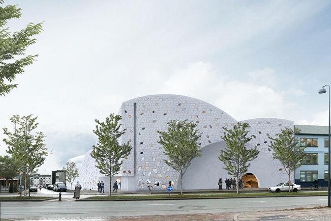 Rendering of the new Henning Larsen Architects-designed mosque for Copenhagen. (Image via cphpost.dk)