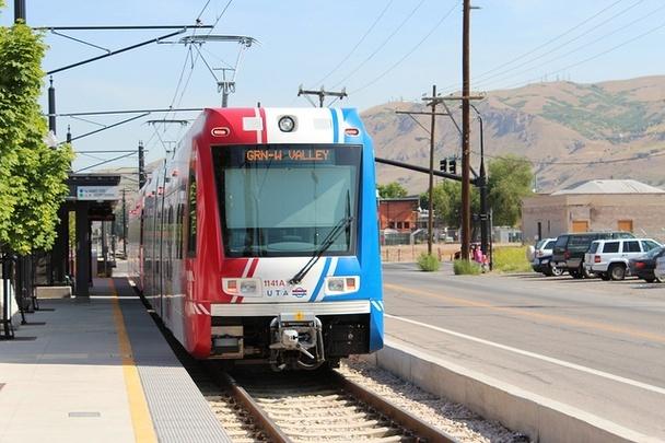 Green Line light rail train at Salt Lake Central station, in Salt Lake City, Utah. (The Atlantic Cities; Photo: Matt Johnson/Flickr)