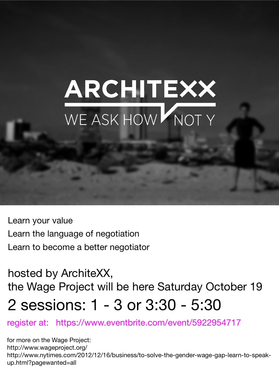Architexx and the Wage Project's event tomorrow will inform women on salary negotiation skills. Image courtesy of ArchiteXX.