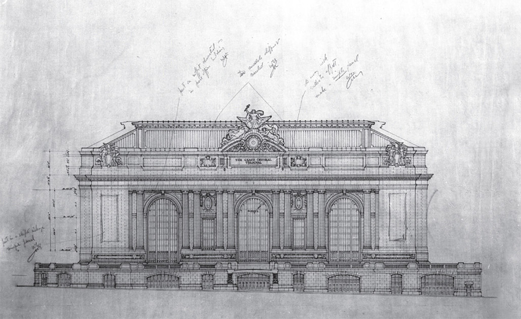 Grand Central Terminal elevation drawing, Warren & Wetmore and Reed & Stem c. 1910 (Courtesy of New York Transit Museum)