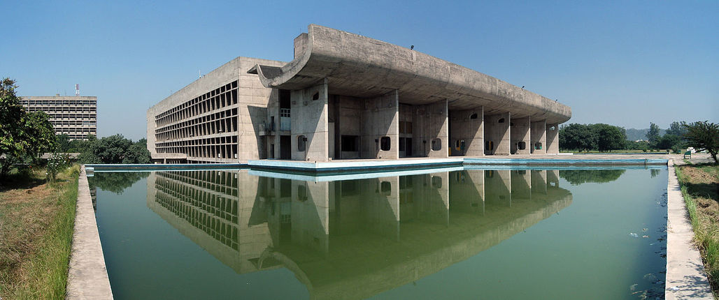 Assembly building by Le Corbusier in Chandigarh, India
