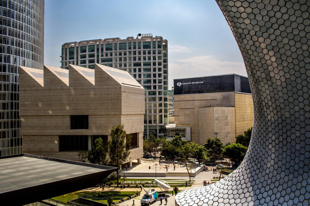 A view of the Museo Jumex from the Museo Soumaya. Credit Adriana Zehbrauskas for The New York Times