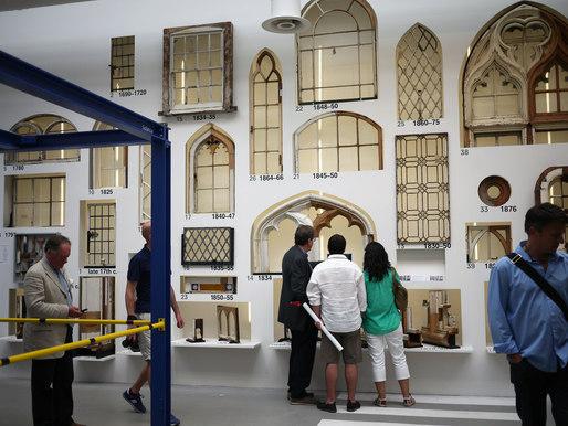 "A display of windows at Rem Koolhaas' Venice Biennale exhibition ""Fundamentals."" Credit: Terri Peters"