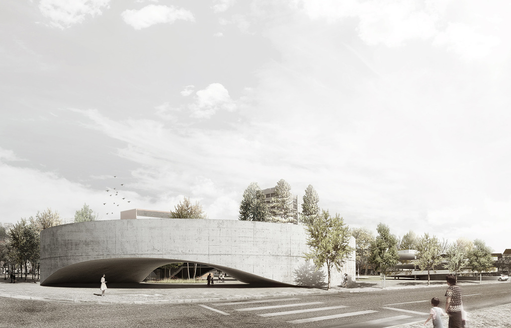 Exterior rendering of the Setúbal Public Library Entry by AND-RÉ (Image: AND-RÉ)