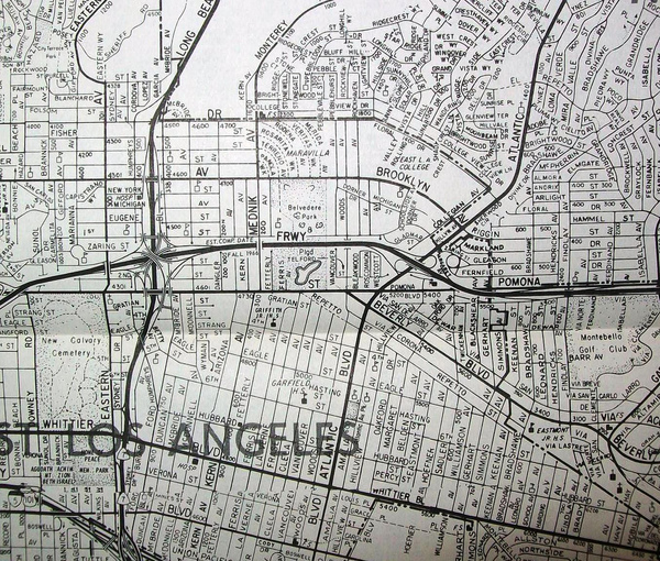 Thomas Brothers Map Co. map of East LA (1966), one of the many companies to include trap streets. Image by david/Flickr user, via atlasobscura.com